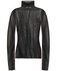 Helmut Lang Burnout-effect Ribbed-knit Turtleneck Top - Black