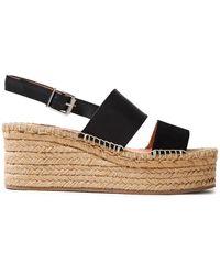 Rag & Bone Edie Leather And Suede Espadrille Wedge Sandals Black