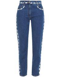 Moschino Painted Mid-rise Slim-leg Jeans Mid Denim - Blue