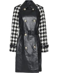 Boutique Moschino - Houndstooth Wool-paneled Leather Coat - Lyst