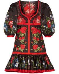 Alexander McQueen | Floral-print Cotton Mini Dress | Lyst