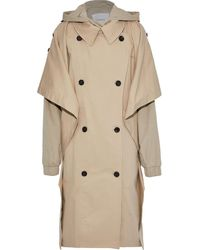 Pushbutton Oversized Layered Cotton-blend Gabardine Hooded Trench Coat - Natural