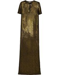Lanvin | Embellished Metallic Silk Gown | Lyst