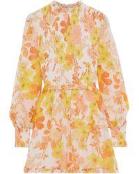 Zimmermann Primrose Floral-print Cotton And Silk-blend Georgette Playsuit Orange