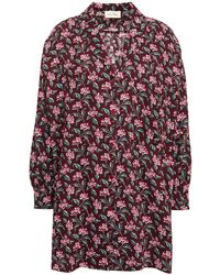 American Vintage Oversized Floral-print Cotton And Wool-blend Twill Shirt - Purple