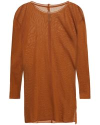 Raquel Allegra Cotton-mesh Top - Brown
