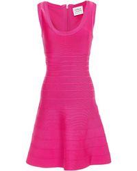 Hervé Léger - Hervé Léger Fluted Bandage Mini Dress Bright Pink - Lyst