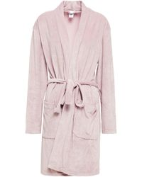 Calvin Klein Ribbed Stretch-velour Robe Baby Pink