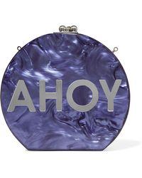 Edie Parker Oscar Ahoy Mirrored Marble-effect Acrylic Clutch - Purple