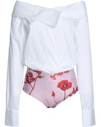 Johanna Ortiz - Woman Cotton-blend Poplin And Printed Jersey Bodysuit White - Lyst