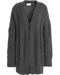 DKNY - Draped Merino Wool Cardigan Dark Grey - Lyst