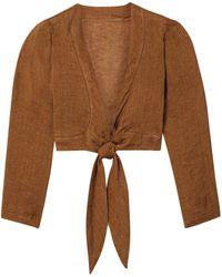 Lisa Marie Fernandez Pouf Cropped Tie-front Linen-gauze Top - Brown