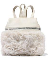 Kara Shearling-paneled Leather Backpack Ecru - Multicolor