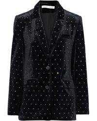 Rebecca Minkoff Morris Crystal-embellished Velvet Blazer Black