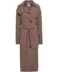Nanushka Gingham Seersucker Trench Coat Brown