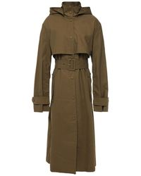 REMAIN Birger Christensen Corinne Belted Cotton-canvas Hooded Coat Army Green