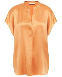 Vince Pleated Silk-satin Top Pastel Orange - Multicolour