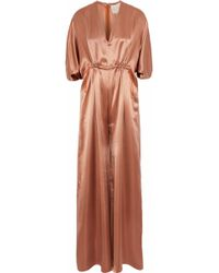 ROKSANDA - Gathered Silk-satin Jumpsuit - Lyst