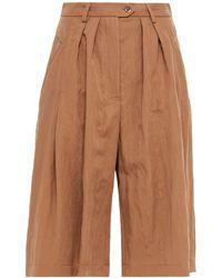 Alberta Ferretti Pleated Washed-twill Shorts - Brown