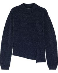 Michelle Mason Twist-front Metallic Ribbed Wool-blend Jumper Navy - Blue