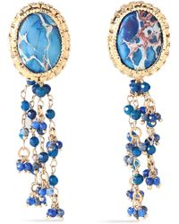 Rosantica Gold-tone, Bead And Stone Clip Earrings Blue