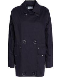 Sandro - Double-breasted Cotton-gabardine Jacket Navy - Lyst