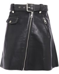 Maje Belted Zip-detailed Leather Mini Skirt Black