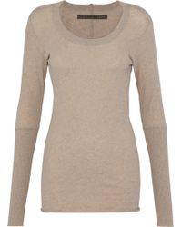 Enza Costa - Woman Cotton And Cashmere-blend Top Mushroom - Lyst
