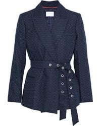 Sandro Loulou Belted Embroidered Twill Jacket Navy - Blue