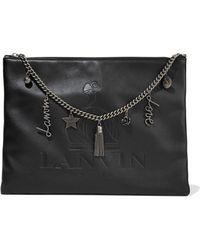 Lanvin - Embellished Embossed Leather Clutch - Lyst