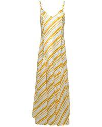 Racil Ava Pleated Striped Satin-twill Maxi Dress Saffron - Yellow
