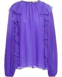 Emilio Pucci Ruffled Silk-chiffon Blouse - Purple