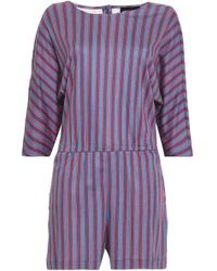 Vanessa Seward - Striped Cotton-jersey Playsuit - Lyst