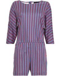 Vanessa Seward - Woman Striped Cotton-jersey Playsuit Blue - Lyst
