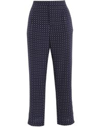 Joie Printed Crepe De Chine Straight-leg Trousers Navy - Blue