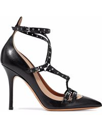 Valentino Love Latch Eyelet-embellished Two-tone Leather Court Shoes Black