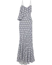 Zac Posen Draped Perforated Printed Cotton Gown - Blue