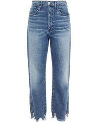3x1 Cropped Boyfriend-jeans In Distressed-optik - Blau