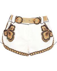 Zimmermann - Embellished Linen-canvas Shorts Ivory - Lyst