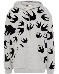 McQ Flocked French Cotton-terry Hoodie Grey