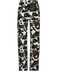 Norma Kamali - Printed Stretch-jersey Wide-leg Trousers - Lyst