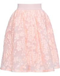Maje Fil Coupé Flared Skirt Peach - Pink