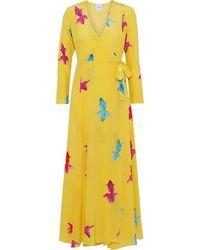 We Are Leone Printed Silk Crepe De Chine Midi Wrap Dress Yellow
