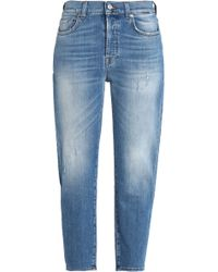 7 For All Mankind - Josefina Cropped Distressed Boyfriend Jeans - Lyst
