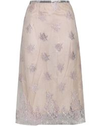 TOME - Woman Embroidered Tulle Skirt Pastel Pink - Lyst