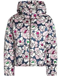 Olivia Von Halle Quilted Floral-print Silk-satin Hooded Down Coat Lilac - Purple