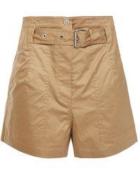 3.1 Phillip Lim Belted Stretch-cotton Poplin Shorts - Natural