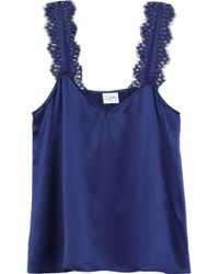 Cami NYC - Woman The Chelsea Lace-trimmed Silk-charmeuse Camisole Royal Blue - Lyst