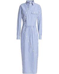 Stella Jean Button-detailed Striped Cotton-poplin Midi Shirt Dress Blue