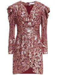 Jonathan Simkhai Wrap-effect Metallic Fil Coupé Silk And Lurex-blend Mini Dress - Red